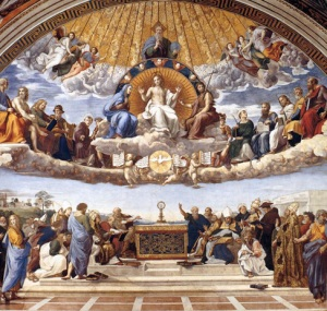 """Disputation of the Holy Sacrament"" by Raphael in the Apostolic Palace, Vatican City"