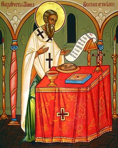 And here is a cool icon of St. James celebrating Mass!