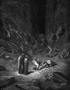 "Dante and Cicero journeying through Hell in the ""Inferno"""