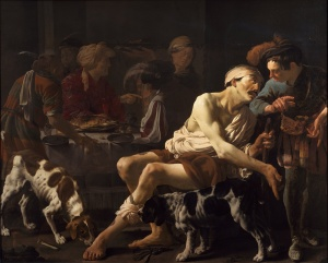 """""""The Rich Man and the Poor Lazarus"""" by Hendrick ter Brugghen"""
