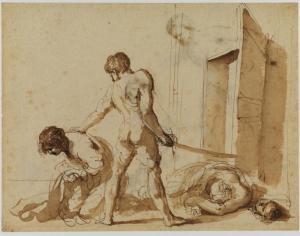 """""""The Martyrdom of Saints John and Paul (recto)"""" by Guercino"""