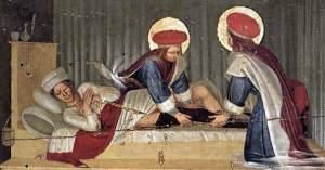 """""""The Healing of Justinian by Saint Cosmas and Saint Damian"""" by Fra Angelico"""