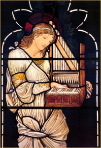 St. Cecilia, Patroness of Musicians Look at the little organ she's playing!