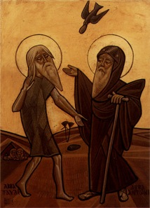 Coptic Icon of St. Anthony Meeting St. Paul the Hermit