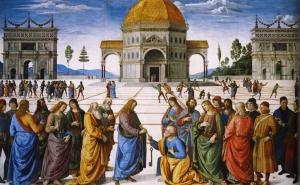 """""""Christ Handing the Keys to St. Peter"""" Pietro Perugino, 15th Century"""