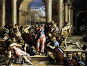 """""""Christ Driving the Money Changers From the Temple"""" by El Greco, 17th Century"""