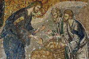 Mosaic of the Loaves and Fishes, 14th Century from the Church of the Holy Savior in Chora, Constantinople